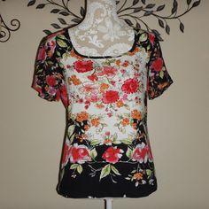 Forbidden Black White Floral Embellished Short Sleeve Blouse Size Medium #Forbidden #Blouse