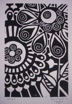 striking black and white flowers linocut print