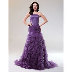 Trumpet/Mermaid Strapless Court Train Tulle Evening Dress With Cascading Ruffles – USD $ 349.99