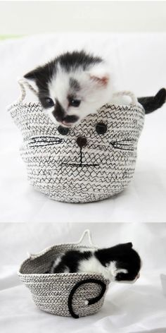 A step-by-step tutorial to make your own DIY rope basket with a twist: a cute cat shape.