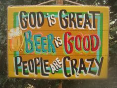 We need this for our Tiki Bar at the pool! Would be so easy to make rather than buy! God Is Great Yellow Tropical Beer Bar Tiki Hut Drink Patio Pool Sign Plaque Patio Signs, Pool Signs, Awesome Woodworking Ideas, Woodworking Garage, Woodworking Workshop, Woodworking Projects, Tiki Hut, Tiki Tiki, Backyard Bar