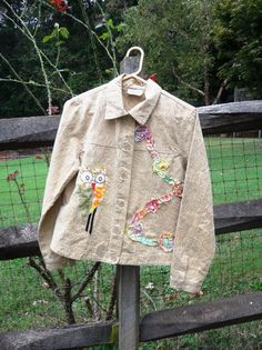 Small/Med Funky Jacket with Owl Up / OOAK / Altered by upCdooZ, $34.00