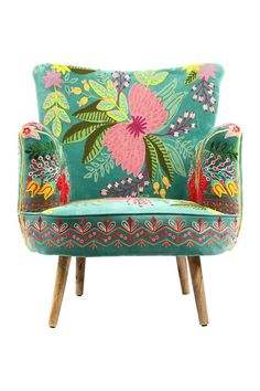 Your Shopping Cart Funky Furniture, Painted Furniture, Furniture Design, Floral Chair, Colourful Living Room, Velvet Armchair, Interior Decorating, Interior Design, Home And Deco