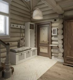 Interior design of a house in green: a corridor and an entrance hall to. Log Cabin Living, Log Cabin Homes, Home And Living, Log Cabin Exterior, Modern Log Cabins, Log Home Interiors, Cabin In The Woods, Cozy House, House Design