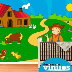 fotomural infantil en vinilo decorativo de una granja illustrado por Fina Gibert. Mira más diseños en http://www.decorarconvinilos.com/fotomural_infantil