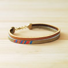 "Leather Bracelet in Tan with Pink and Blue, ""The Pecos Handpainted"""