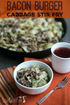 (Use nitrate-free turkey bacon) Short on time? It only takes about 20 minutes to whip up a delicious low carb bacon burger cabbage stir fry skillet dish that the whole family will love. Serves 8.