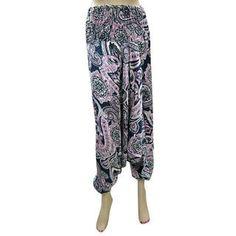 Product Image Genie Pants, Harem Pants, Pajama Pants, Blue Satin, Floral Prints, Jumpsuit, Capri, Pink, Bohemian