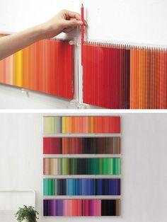 Use colored pencils as wall art - such a colorful walldesign idea /// Benutzt Buntstifte als creative Wandgestaltung - tolle farbenfrohe Design Idee Mur Diy, Pinterest Projects, Pinterest Diy, Diy Wall Art, Cheap Wall Art, Cheap Art, Diy Artwork, Colored Pencils, Colored Pencil Storage