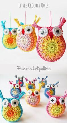 Crochet Amigurumi Pincushion Dada's place: Little crochet owls . would make cute pincushions Owl Crochet Pattern Free, Crochet Owls, Crochet Amigurumi, Cute Crochet, Crochet Crafts, Crochet Baby, Free Pattern, Crochet Animals, Crochet Food