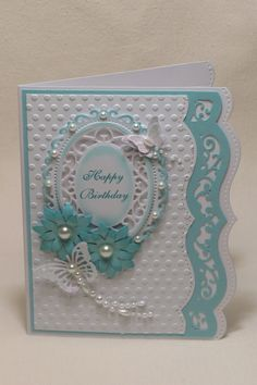 Birthday card Homemade Birthday Cards, Homemade Cards, Card Birthday, Tarjetas Stampin Up, Spellbinders Cards, Birthday Cards For Women, Embossed Cards, Cricut Cards, Mothers Day Cards