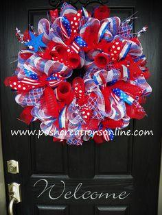 Fourth of July Wreath USA Wreath Flag Wreath by poshcreationsKY