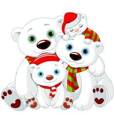CHRISTMAS POLAR BEAR FAMILY CLIP ART