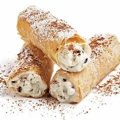 """Recipe for """"Chocolate Chip Cannoli"""" - lightened up!I got hooked on cannoli back in New Jersey at couple of years ago :) Köstliche Desserts, Delicious Desserts, Dessert Recipes, Yummy Food, Recipes Dinner, Drink Recipes, Recipe Makeovers, Eat Smart, Biscuits"""