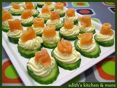 Cream Cheesey Cucumber Smoked Salmon Rosettes Appetizer Recipe (grain free) - with bacon on top instead of salmon Yummy Appetizers, Appetizer Recipes, Tapas, Smoked Salmon Appetizer, Salmon Canapes, Tea Sandwiches, Appetisers, Party Snacks, Afternoon Tea