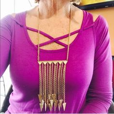 AZTEC GOLDTONE LONG NECKLACE Total accent piece!  2 1/2 inch adjustable chain length. Lobster claw clasp. All goldtone. Jewelry Necklaces