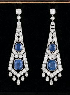 Sapphire Earrings, Drop Earrings, Art Nouveau, Art Deco, Exotic Art, High Jewelry, Vintage Jewellery, Belle Epoque, Storage Ideas