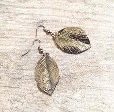 Free Shipping Within USA Handmade Black Leaf Long Drop Dangle Earrings