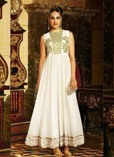 70cef9c8d Off White Georgette Anarkali Style Salwar Kameez