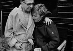 Benedict Cumberbatch with Gary Oldman on the set of Tinker Tailor Soldier Spy. Oldman had to swim frigid waters for his role; Cumberbatch offered to go in first (even though his character didn't require it).  This was captured in the aftermath of the swim.