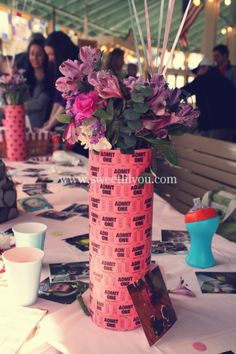 Admit One Carnival Ticket Centerpieces! So easy to make! Perfect for a carnival or movie themed party! www.sweetlilyou.com