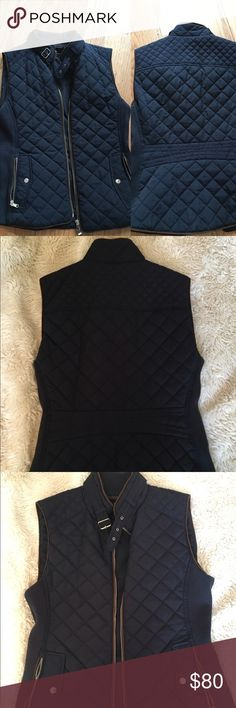 Zara Padded Puffer Blue Vest With Brown Trim SO gorgeous. Only worn once. Perfect Condition. Size M. Would probably fit XS-M. Price lower off of Posh. Zara Jackets & Coats Vests