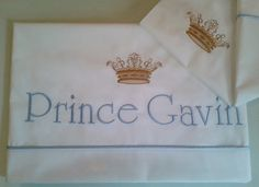 PRINCE/PRINCESS crib sheet embroidered , 2pcs baby bedding , crib sheet set ,best quality percale cotton, baby shower gift,personalized gift