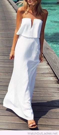 White maxi and brown sandals