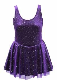 Skating Dress Purple Twinkle Velvet with Iridescent Dots, Sleeveless Dress with Double Layered Skirt with Purple Mesh and Rhinestone Heart Buckle  Color: Purple  Size: Child 12