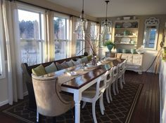New Farmhouse Dining Table With Church Pew Ideas Farmhouse Dining Room Table, Dining Room Furniture, Dining Table, Dining Rooms, Dining Area, Dining Sets, Bar Furniture, Luxury Dining Room, Dining Room Design