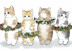 Illustration:Cats and Christmas – Tattoos Design Cute Animal Drawings, Cute Drawings, I Love Cats, Cute Cats, Cat Drawing Tutorial, Cat Quilt, Art And Illustration, Cat Illustrations, Cute Cartoon Wallpapers