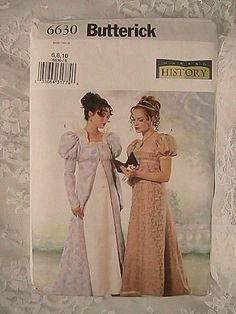 Butterick 6630 - Misses Empire Renaissance Dress and Coat - Sizes 6, 8, 10 - OOP, Uncut, New in Package