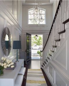 Two Story Foyer - Design photos, ideas and inspiration. Amazing gallery of interior design and decorating ideas of Two Story Foyer in entrances/foyers by elite interior designers. Design Entrée, Flur Design, House Design, Interior Design, Design Ideas, Interior Architecture, Hall Design, Design Inspiration, Design Interiors