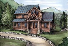 House Plan 58984   Cabin   Log    Plan with 1679 Sq. Ft., 3 Bedrooms, 2 Bathrooms