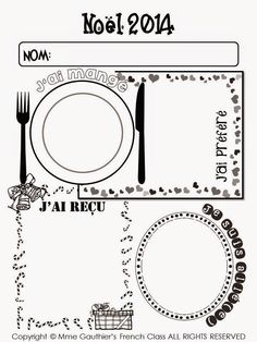 cute Christmas recap worksheet in French with space to list or draw what you ate, what you received, where you went, what you liked Christmas Writing, French Christmas, French Poems, Holiday Classrooms, French Worksheets, Core French, French Classroom, French Resources, French Immersion