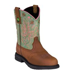 """John Deere Womens Tan Distressed Leather 10"""" Pull On Saddle Cowboy Boots # JD3467"""