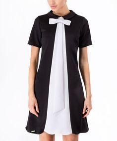 Another great find on #zulily! Black & White Scallop-Trim Shift Dress #zulilyfinds