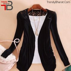 This Black Shrug designed with Woollen & Net Fabric will make you look trendy this winter