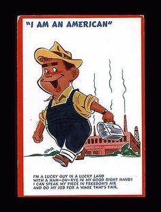 "ANTIQUE 1940S WW II PATRIOTIC ""I AM AN AMERICAN STEEL WORKER"" AD BLOTTER"