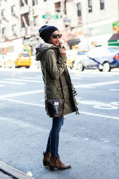 let's do this | oversized circle scarf, skinny jeans, brown boots, black beanie and parka http://www.grasiemercedes.com/style-me-wears/lets-do-this/