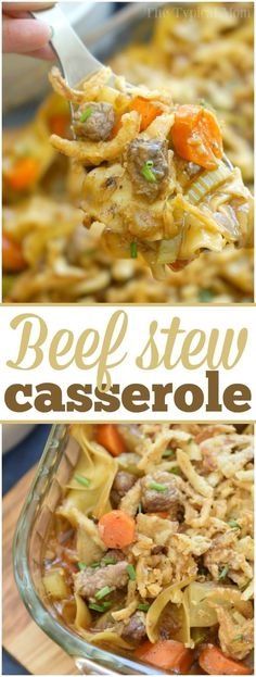 This easy beef stew casserole is comfort food at it's finest! This easy beef stew casserole is comfort food at it's finest! Packed with tender meat, a thick sauce and lots of ve Beef Dishes, Pasta Dishes, Food Dishes, Main Dishes, Easy Casserole Recipes, Casserole Dishes, Easy Recipes, Pasta Casserole, Vegetable Casserole