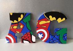 Superhero inspired personalised children's wall art name art superheroes letters £7.99