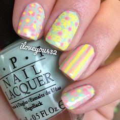 """""""Did my nails! Pastel themed and they look way better in person for some reason they look really washed out. And please follow my personal account: @TaylorMarie432 ⭐Don't forget to enter my contest! I have a lot of great entries so far and the contest ends soon!"""" Photo taken by @iloveyou432 on Instagram, pinned via the InstaPin iOS App! http://www.instapinapp.com (02/13/2013)"""