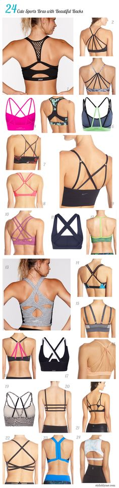 Different types of sports bras. I actually prefer non-traditional racerbacks because they are more comfortable.