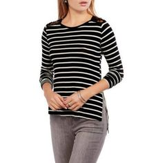 Moral Fiber Juniors Long Sleeve Top with Lace Insert and Mixed Stripes, Size: Medium, Multicolor