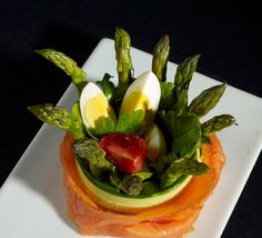 Smoked Salmon and Asparagus Salad, Pickled Ginger Vinaigrette Salmon And Asparagus, Asparagus Salad, Pickled Ginger, Smoked Salmon, Vinaigrette, Pickles, Catering, Salads, Stuffed Peppers