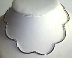 """VINTAGE 15"""" SARAH COVENTRY SILVERTONE SCALLOPED LINK NECKLACE"""