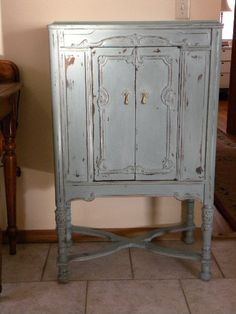 Hand Painted Antique Music Cabinet Annie Sloan Chalk Paint Storage Painted Furniture