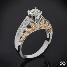 """Two beautiful colors converge in this """"Delicate Blush"""" Diamond Engagement Ring. The combination of 18k White and Rose Gold coupled with 16 Round Brilliant Diamond Melee and 10 Princess Cut Diamond Melee"""