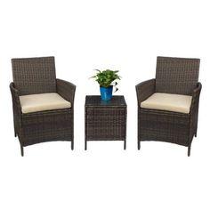 Devoko Patio Porch Furniture Set 3 Piece PE Rattan Wicker Chairs Beige Cushion